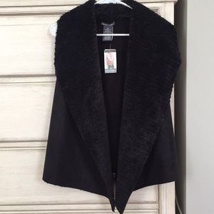 Chelsea & Theodore faux suede and fur vest NWT